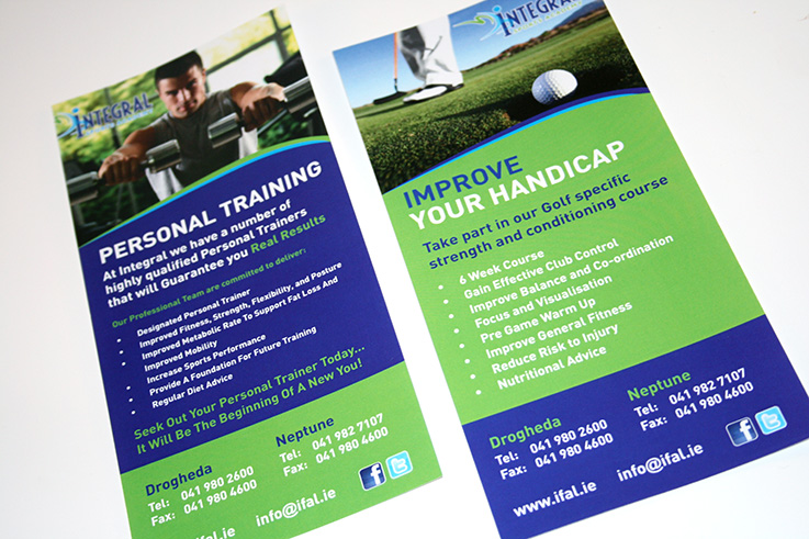 Integral Fitness & Leisure Personal Training & Golf Leaflets | Once Upon Design